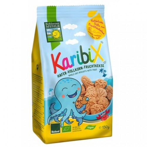 Organic Oatmeal Biscuits. With 20% addition of organic fruit pulp, in 8 different shapes from bottom animals